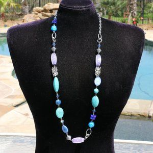 Necklace Long Statement Boho Bead Turquoise Shell